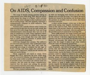 Primary view of object titled '[Newspaper clippings: AIDS trials]'.