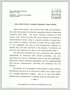 Primary view of object titled '[Press release: AIDS action council launches grassroots lobby project]'.
