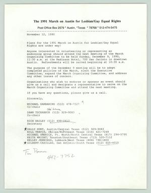 Primary view of object titled '[Invitation for Dec 9 1990 meeting of the March on Austin Committee]'.
