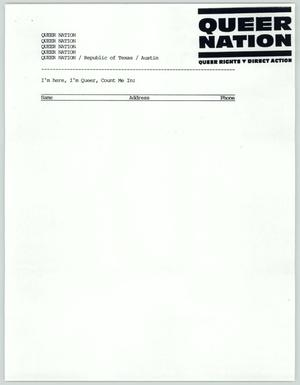 Primary view of object titled '[Sign-up sheet: Queer Nation]'.