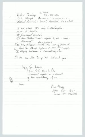 Primary view of object titled '[Copy of Handwritten Notes: Contacts and Questions]'.