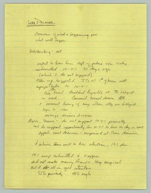 Primary view of object titled '[Handwritten Notes: Lori Palmer]'.