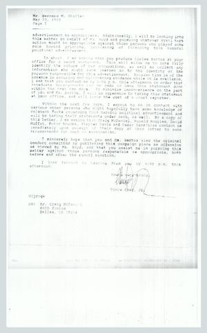 Primary view of object titled '[Copy of a letter from Vince Cruz to Bernard Stoller, page 2]'.