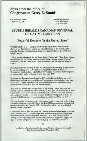 Primary view of object titled '[News release: Studds herals Canadian reversal of gay military ban]'.
