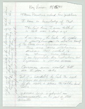 Primary view of object titled '[Handwritten notes: Interview with Kay Vinson]'.