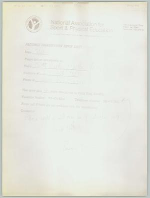 Primary view of object titled '[National Association for Sport & Physical Education facsimile transmission: faded copy]'.