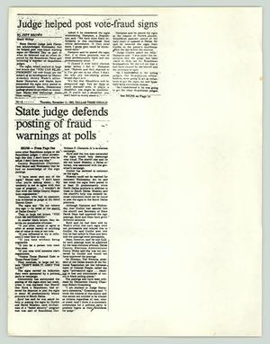 Primary view of object titled '[Newspaper clipping: Judge helped post vote-fraud signs]'.