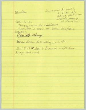 Primary view of object titled '[Handwritten Notes: Interview with Ron Lee]'.