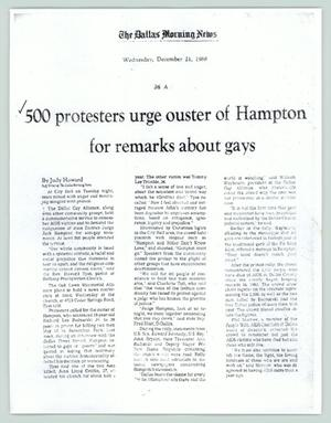 Primary view of object titled '[Dallas Morning News report: 500 protesters urge ouster of Hampton for remarks about gays]'.