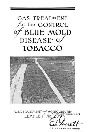 Primary view of object titled 'Gas treatment for the control of blue mold disease of tobacco.'.