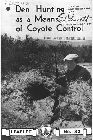 Primary view of object titled 'Den Hunting as a Means of Coyote Control.'.