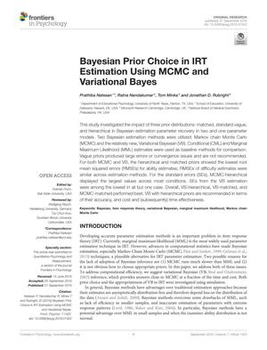 Primary view of object titled 'Bayesian Prior Choice in IRT Estimation Using MCMC and Variational Bayes'.