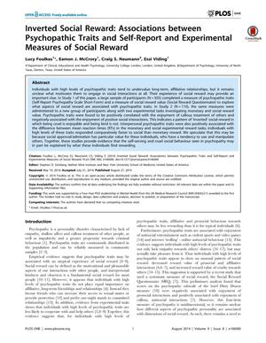 Primary view of object titled 'Inverted Social Reward: Associations between Psychopathic Traits and Self-Report and Experimental Measures of Social Reward'.
