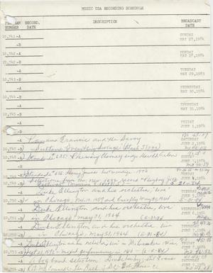 Primary view of object titled 'Music USA Recording Schedule, 1984-1990'.