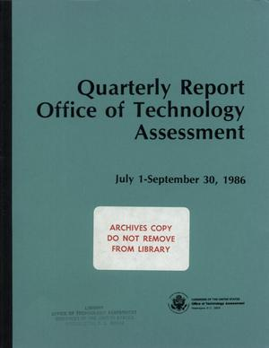 Primary view of object titled 'Quarterly Report to the Technology Assessment Board,July 1 - September 30, 1986'.