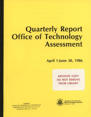 Primary view of object titled 'Quarterly Report to the Technology Assessment Board, April 1 - June 30, 1986'.