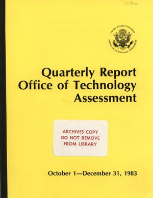 Primary view of object titled 'Quarterly Report to the Technology Assessment Board, October 1 - December 31, 1983'.