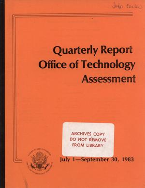 Primary view of object titled 'Quarterly Report to the Technology Assessment Board, July 1 - September 30, 1983'.