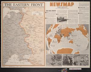 Primary view of object titled 'Newsmap. Monday, June 14, 1943 : week of June 3 to June 10, 196th week of the war, 78th week of U.S. participation'.