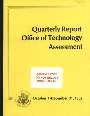Primary view of object titled 'Quarterly Report to the Technology Assessment Board, October 1 - December 31, 1982'.