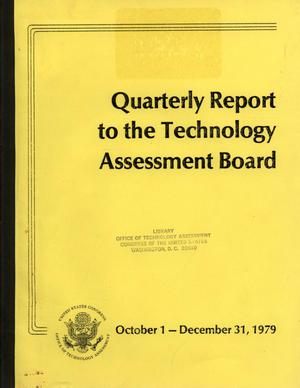 Primary view of object titled 'Quarterly Report to the Technology Assessment Board, October 1 - December 31, 1979'.