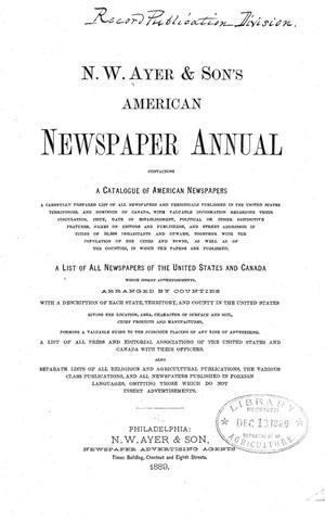 Primary view of object titled 'N. W. Ayer & Son's American Newspaper Annual: containing a Catalogue of American Newspapers, a List of All Newspapers of the United States and Canada, 1889'.