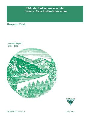 Primary view of object titled 'Fisheries Enhancement on the Coeur d'Alene Indian Reservation; Hangman Creek, Annual Report 2001-2002.'.