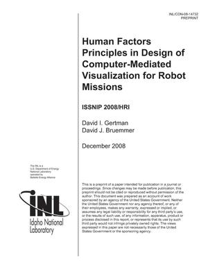 Primary view of object titled 'Human Factors Principles in Design of Computer-Mediated Visualization for Robot Missions'.