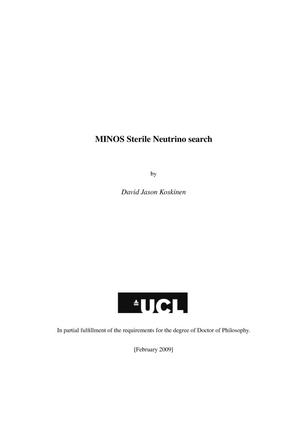 Primary view of object titled 'MINOS Sterile Neutrino Search'.