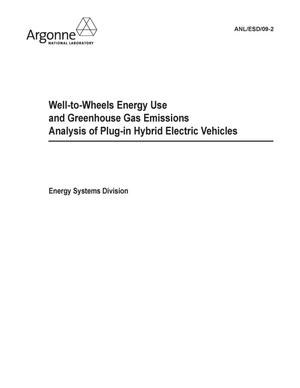 Primary view of object titled 'Well-to-wheels energy use and greenhouse gas emissions analysis of plug-in hybrid electric vehicles.'.