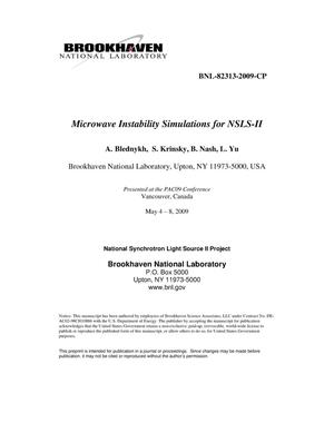 Primary view of object titled 'Microwave Instability Simulations for NSLS-II'.