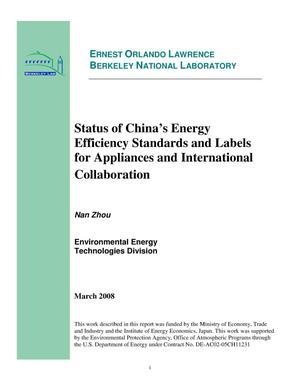Primary view of object titled 'Status of China's Energy Efficiency Standards and Labels for Appliances and International Collaboration'.