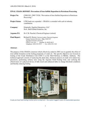 Primary view of object titled 'Prevention of iron-sulfide deposition in petroleum processing. Final CRADA report.'.