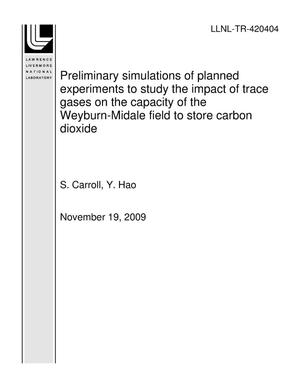 Primary view of object titled 'Preliminary simulations of planned experiments to study the impact of trace gases on the capacity of the Weyburn-Midale field to store carbon dioxide'.