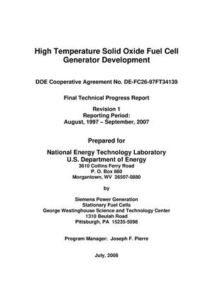 Primary view of object titled 'High Temperature Solid Oxide Fuel Cell Generator Development'.