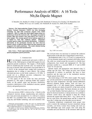 Primary view of object titled 'Performance analysis of HD1: a 16 Tesla Nb3Sn dipole Magnet'.