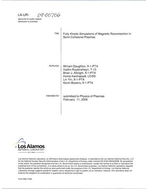 Primary view of object titled 'Fully kinetic simulations of magnetic reconnction in semi-collisional plasmas'.