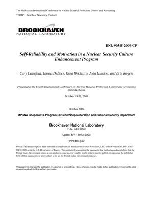 Primary view of object titled 'Self-Reliability and Motivation in a Nuclear Security Culture Enhancement Program'.