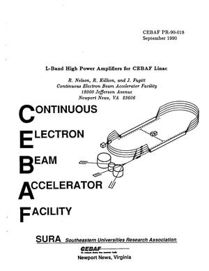 Primary view of object titled 'L-Band High Power Amplifiers for CEBAF Linac'.