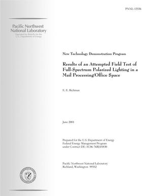 Primary view of object titled 'New Technology Demonstration Program - Results of an Attempted Field Test of Full-Spectrum Polarized Lighting in a Mail Processing/Office Space'.