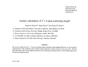 Primary view of object titled 'Lattice calculation of I=2 pion scattering length'.