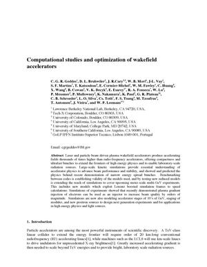 Primary view of object titled 'Computational studies and optimization of wakefield accelerators'.