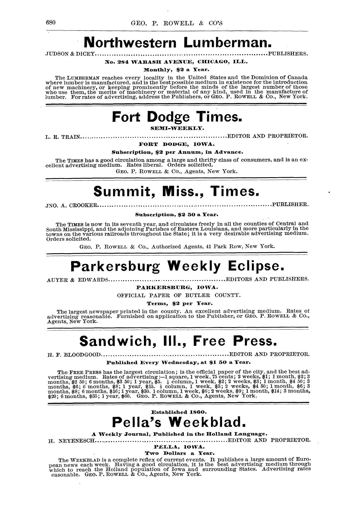 Geo P Rowell Cos American Newspaper Directory Containing