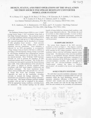 Primary view of object titled 'Design, status and first operations of the spallation neutron source polyphase resonant converter modulator system'.