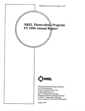Primary view of object titled 'NREL Photovoltaic Program FY 1996 Annual Report'.