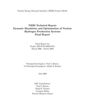 Primary view of object titled 'Dynamic Simulation and Optimization of Nuclear Hydrogen Production Systems'.