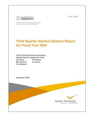 Primary view of object titled 'Third Quarter Hanford Seismic Report for Fiscal Year 2009'.
