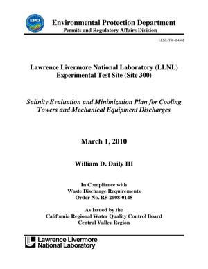 Primary view of object titled 'Lawrence Livermore National Laboratory (LLNL) Experimental Test Site (Site 300) Salinity Evaluation and Minimization Plan for Cooling Towers and Mechanical Equipment Discharges'.