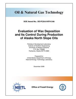 Primary view of object titled 'Evaluation of Wax Deposition and Its Control During Production of Alaska North Slope Oils'.
