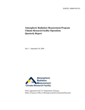 Primary view of object titled 'Atmospheric Radiation Measurement program climate research facility operations quarterly report July 1 - September 30, 2008.'.